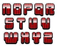 Glossy letters set 2. Second half of the set of shiny red alphabet with stars Stock Image