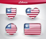 Glossy Liberia flag icon set Royalty Free Stock Image