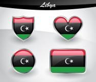 Glossy Libya flag icon set Stock Image