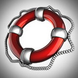 Glossy Lifebuoy on gray background Stock Photo