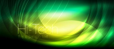 Glossy light effect neon glowing waves, shiny lights stock illustration