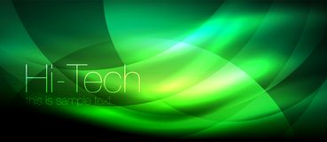 Glossy light effect neon glowing waves, shiny lights royalty free illustration