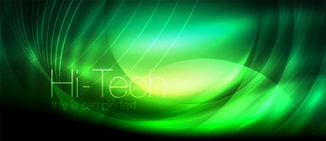 Glossy light effect neon glowing waves, shiny lights vector illustration