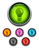 Glossy lightbulb icon Stock Photos