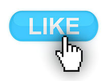 Glossy like button. Like button on white background Stock Images