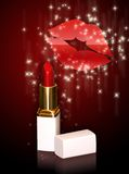 Glossy lips2. Glossy lips with a lipstick royalty free stock photography
