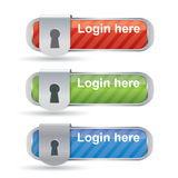 Glossy login buttons with keyhole Royalty Free Stock Images