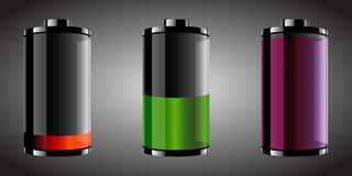Glossy looking batteries. Vector illustration of three glossy style batteries with different color and set levels Stock Photo