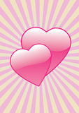 Glossy Love Hearts. A couple of glossy love hearts on an abstract background Royalty Free Stock Photos