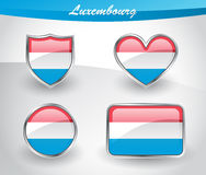 Glossy Luxembourg flag icon set Royalty Free Stock Photos