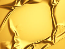 Glossy luxury golden satin cloth abstract background. 3d render illustration Royalty Free Stock Images