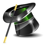 Glossy magic hat and wand Royalty Free Stock Image