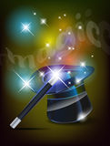 Glossy magic hat and wand Royalty Free Stock Photo