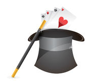 Glossy magic hat, wand and cards Royalty Free Stock Photo
