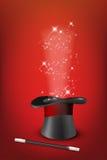 Glossy magic hat, wand and shiny stars Stock Photography