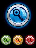 Glossy magnifier button Stock Images