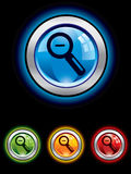 Glossy magnifier button Stock Photography