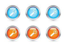 Glossy magnifier button set Stock Photos