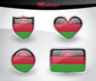 Glossy Malawi flag icon set Stock Photo