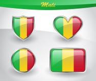 Glossy Mali flag icon set Stock Photos