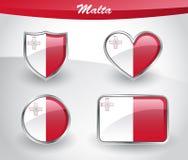 Glossy Malta flag icon set Royalty Free Stock Images