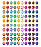 Glossy map pins set Royalty Free Stock Photos