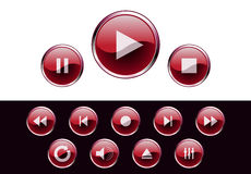 Glossy media buttons Royalty Free Stock Photos