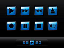 Glossy media player buttons Royalty Free Stock Photos