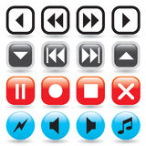 Glossy Media Player Buttons Stock Photos