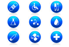 Glossy Medical and Hospital Icons / Symbols. A set of 9 internet icons and buttons Stock Photos