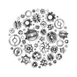 Glossy metal cogwheels arranged in a circle shape isolated on white Royalty Free Stock Image