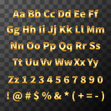 Glossy metal font. Golden letters and numbers on transparent background Stock Photography
