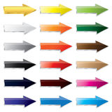 Glossy Metal Glass Arrow Button Stock Photo