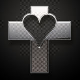 Glossy metal Jesus Cross heart shape Stock Photos