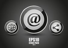 Glossy metallic black icons part 3. Glossy metallic black icons with texture part 3 Stock Photo