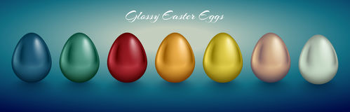 Glossy metallic egg set. Different color reflect paint. Turquoise deep background. Golden, silver, blue, red, green, orange, yellow, white color reflect paint Royalty Free Stock Images