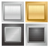 Glossy metallic plaque on a textured background. Vector illustration Royalty Free Stock Photo