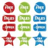 Glossy metallic retail icons with text Stock Photos