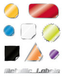 Glossy Metallic Stickers Collection Stock Photography