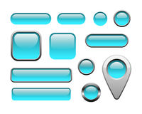 Glossy and metallic web buttons. For internet and apps, vector EPS 10 Royalty Free Stock Images