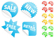 Glossy modern stickers on sale/retail theme Stock Photos