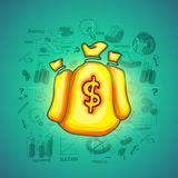 Glossy money bag with various business infographic elements. Royalty Free Stock Photography