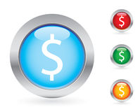 Glossy money button set Stock Photos