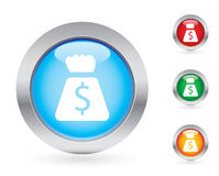 Glossy money button set Royalty Free Stock Photo