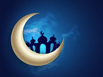 Glossy Moon with Mosque for Ramadan celebration. Royalty Free Stock Photography