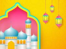 Glossy mosque illustration and hanging illuminated lanterns on islamic pattern background for Ramadan Mubarak. royalty free illustration