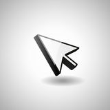 Glossy mouse arrow cursor. Click arrow 3d Royalty Free Stock Images
