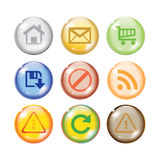 Glossy multi color icon set for web. Glossy shiny multi color icon set for web websites Royalty Free Stock Photography