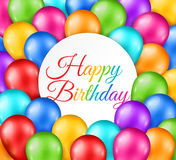 Glossy Multicolor Balloons with Circle Frame. 3d Realistic Festive Glossy Multicolor Balloons with Circle Frame. Vector illustration. Happy Birthday Backdrop Stock Image