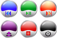 Glossy multimedia buttons Royalty Free Stock Images
